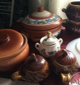 Глиняные горшочки чайник