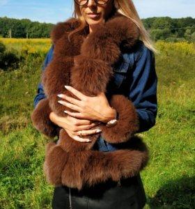 Джинсовая куртка с натуральным мехом из песца