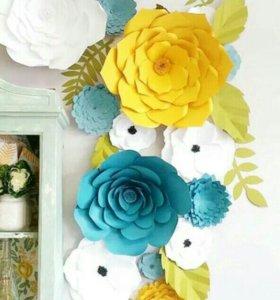 Обьемные цветы из бумаги для декора