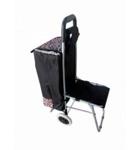 Тележка-сумка хозяйственная с откидным стулом