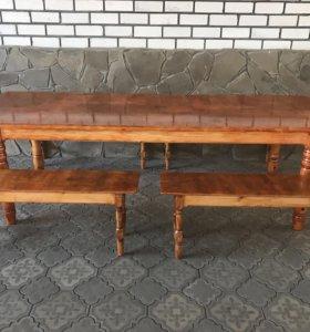 Стол деревянный с лавочками