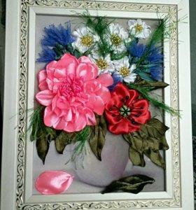 "Картина, вышитая лентами ""Цветы в вазе"""