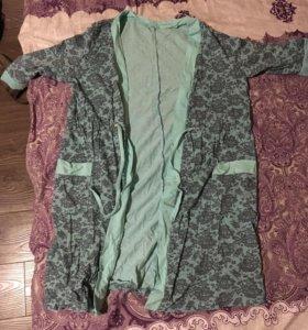 Комплект ночнушка и халат. Для кормящих мамочек.