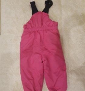 Зимние штаны с высокой спинкой на лямках