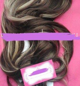 Волосы на заколках искусственные локоны