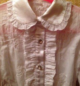 Белая школьная блузка на девочку .134рост