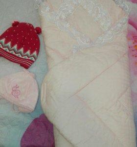 Теплый конвет-одеяло на выписку