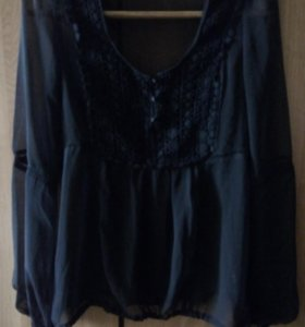 Шифоновая чёрная блузка...с кружевом и вышивкой
