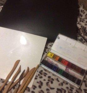 Краски,палитра,стеки,мастерок,сумка