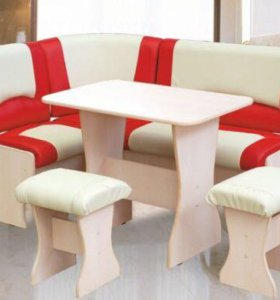 Кухонный уголок диванчик бело-красный (комплект)
