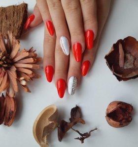 Наращивание ногтей с покрытием
