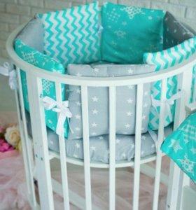 Детская кроватка трансформер 7в1 для новорожденных