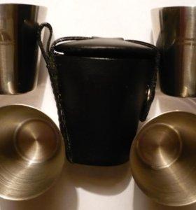 Походный набор из 4 рюмок (50 мл) из нержавейки