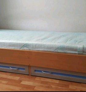 Кровать с ящиками для белья+матрас