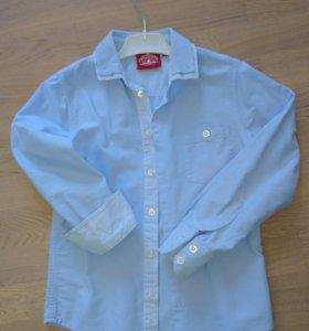 Голубая рубашка 100% хлопок рост 128