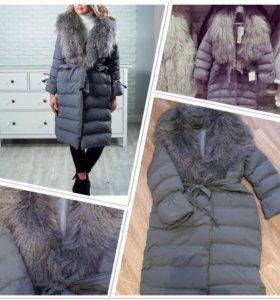 Пальто с натуральным мехом ламы