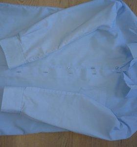 Школьная голубая рубашка рост 128 см