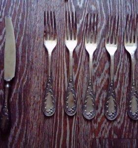 Мельхиоровые ножи и вилки