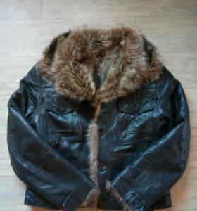 Куртка мужская кожаная мех волк