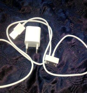 Зарядное устройство с кабелем на iphone