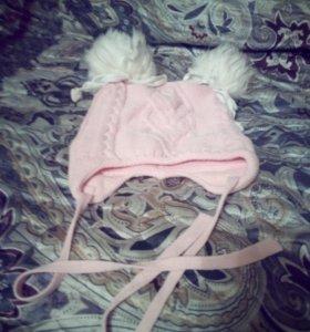 шапка для девочки теплая