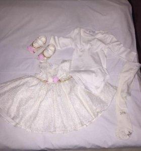 Платье нарядное+пинетки!