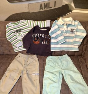 Толстовка/рубашка/брюки 80см комплект вещей