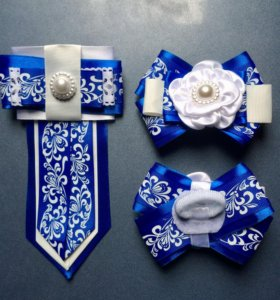 Комплект бантики и галстук для девочки