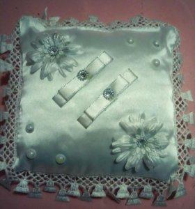 Свадебные украшения, подушечка для колец