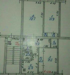Квартира, 3 комнаты, 63.6 м²