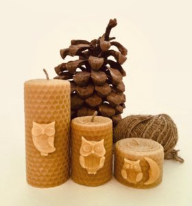 Медовые свечи-бочата из вощины d=5см.