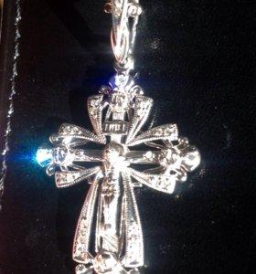 Крест белое золото