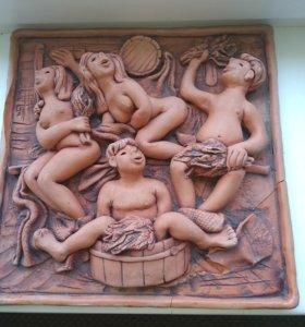 Продам декоративную глинянную картину