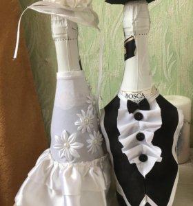 Свадебные украшения на бутылки 🤵🏽👰🏽