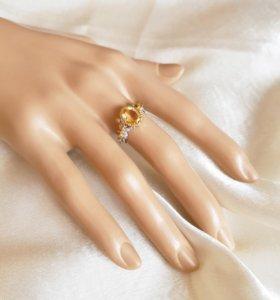 Кольцо из серебра 925 с цитрином