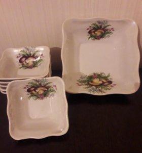 Большой салатник и 6 маленьких