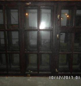 Окна деревянные б/у со стеклопакетом