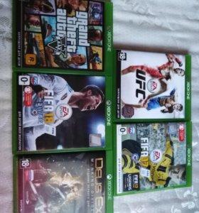 Игры на xbox one:GTA5, FIFA17, FIFA 18,UFC,DEUS EX