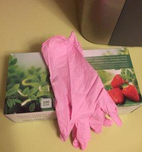 Перчатки смотровые (диагностические) розовые