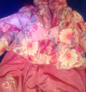 Детский зимний комбинезон 80 см розовый