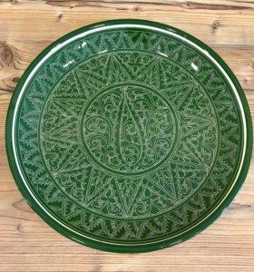 Ляган 37 см зеленый - керамика