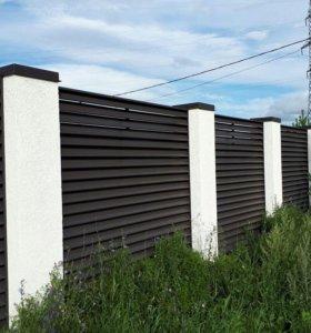 Забор- жалюзи, горизонтальные, L-2.5м. RAL 8019