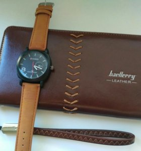 Мужское портмоне BAELLERRY Leather +часы в подарок