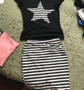 Комплект юбка и футболка
