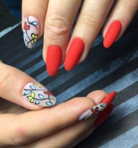 Маникюр, гель лак, Наращивание ногтей