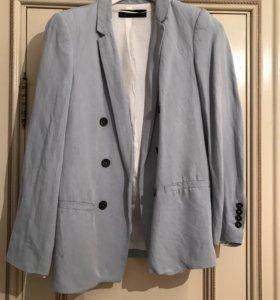 Пиджак голубой лён