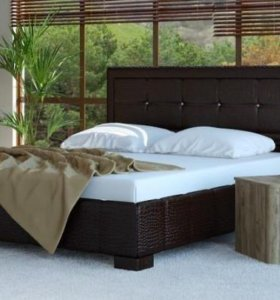 Кровать 160 Кожа рептилии коричневая, ящик белья