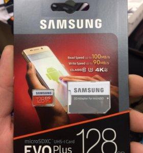 Карта памяти 4К Samsung microsd на 128 гб.