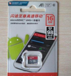 Новая карта памяти MicroSD 16GB