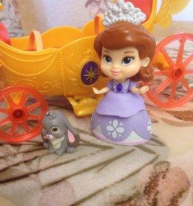 Кукла принцесса София с музыкальной каретой